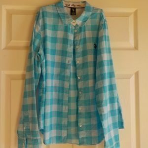 US Polo Ass Plaid Shirt Large Blue Button Down